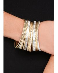 Bebe - Metallic Glitter Bangle Set - Lyst