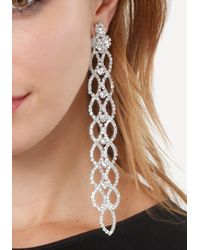 Bebe - Brown Crystal Statement Earrings - Lyst