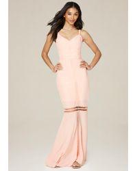 Bebe | Pink Crepe Lace Trim Maxi Dress | Lyst