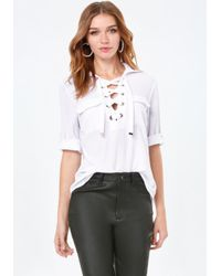 Bebe | White Lace Up Pocket Top | Lyst