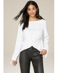 Bebe | White Knot Front Button Back Top | Lyst