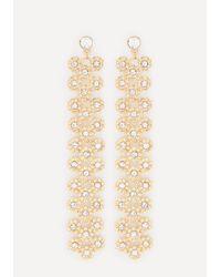 Bebe   Metallic Crystal Florette Earrings   Lyst