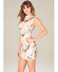 Bebe - Pink Harley Sequin Floral Dress - Lyst