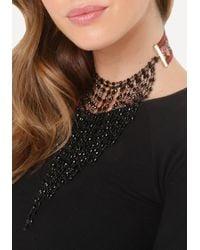 Bebe - Black Fringe Embroidered Choker - Lyst