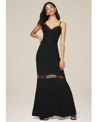Bebe   Black Petite Lace Trim Maxi Dress   Lyst