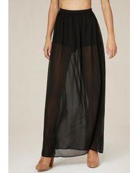 Bebe | Black Vivienne Shorts Maxi Skirt | Lyst