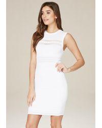 Bebe - White Colette Pointelle Dress - Lyst