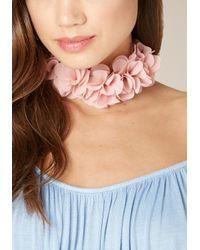 Bebe - Pink Fabric Flower Choker - Lyst