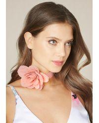 Bebe - Multicolor Pleated Flower Choker - Lyst