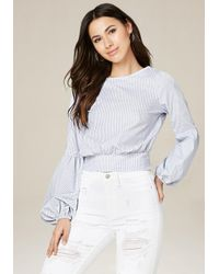 Bebe | White Striped Dramatic Sleeve Top | Lyst