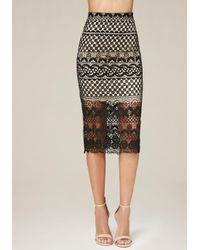 Bebe | Black Crochet Lace Midi Skirt | Lyst