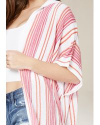 Bebe - Pink Striped Hooded Ruana - Lyst