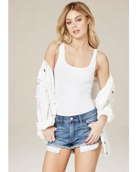Bebe - White Scoopneck Bodysuit - Lyst