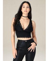 Bebe - Black Lace V-neck Crop Tank - Lyst