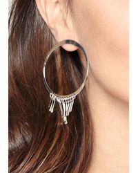 Bebe - Metallic Fringe Hoop Earrings - Lyst