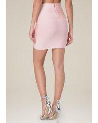 Bebe - Pink Solid Bandage Skirt - Lyst
