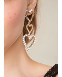 Bebe Metallic Triple Heart Earrings