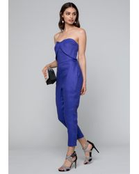 76a56d6a804 Lyst - Bebe Linen Bustier Jumpsuit in Blue