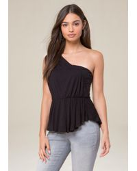 Bebe - Black Shirred One Shoulder Top - Lyst