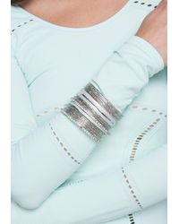 Bebe - Metallic Glitter Crystal Bangle Set - Lyst