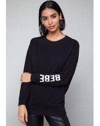 Bebe - Black Logo Back Cutout Sweatshirt - Lyst