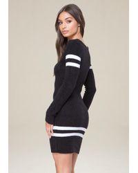 Bebe - Black Striped Chenille Dress - Lyst