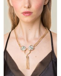 Bebe - Metallic Leopard Head Necklace - Lyst