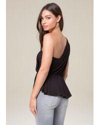 Bebe - Black Shirred One Shoulder Top - Lyst