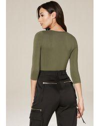 Bebe - Green Deep V Bodysuit - Lyst