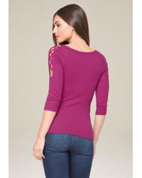Bebe - Purple Logo Lace Up Sleeve Top - Lyst