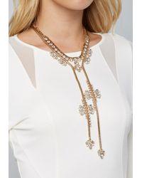 Bebe - Metallic Crystal Lariat Necklace - Lyst