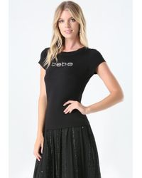 Bebe   Black Logo Rhinestone Tee   Lyst