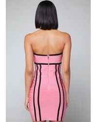 Bebe - Pink Colorblock Bandage Dress - Lyst
