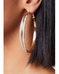 Bebe - Metallic Stardust Hoop Earrings - Lyst
