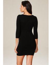 Bebe - Black Chain Trim Sweater Dress - Lyst