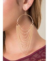 Bebe - Metallic Draped Chain Earrings - Lyst