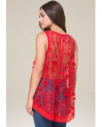 Bebe - Embroidered Hi-lo Top - Lyst