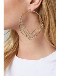 Bebe - Metallic Chevron Hoop Earrings - Lyst