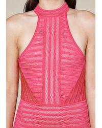 Bebe - Pink Striped Knit Halter Dress - Lyst