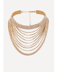 Bebe | Metallic Layered Crystal Drop Choker | Lyst