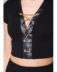 Bebe - Black Ponte Chain Lace Up Top - Lyst