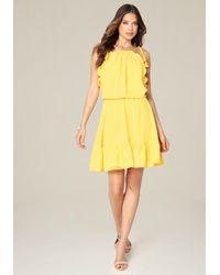 Bebe - Yellow Blouson Halter Look Dress - Lyst