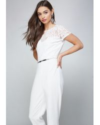 Bebe - White Lace Bodice Jumpsuit - Lyst
