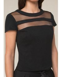 Bebe - Black Crewneck Top - Lyst