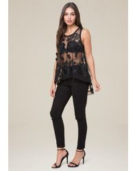 Bebe - Black Embroidered Hi-lo Top - Lyst