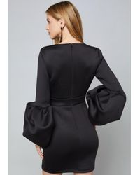 Bebe - Black Alexis Drama Sleeve Dress - Lyst