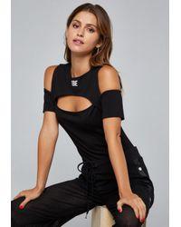 Bebe - Black Logo Cutout Bodysuit - Lyst