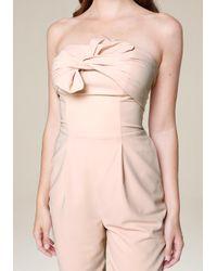Bebe - Pink Bow Trim Strapless Jumpsuit - Lyst