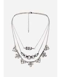 Bebe - Metallic Crystal 3-layer Necklace - Lyst