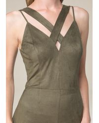 Bebe - Green Strappy Faux Suede Jumpsuit - Lyst